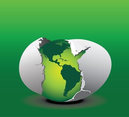 Un'illustrazione concettuale di una nuova terra ecologica verde che cova da un uovo. Vettoriali