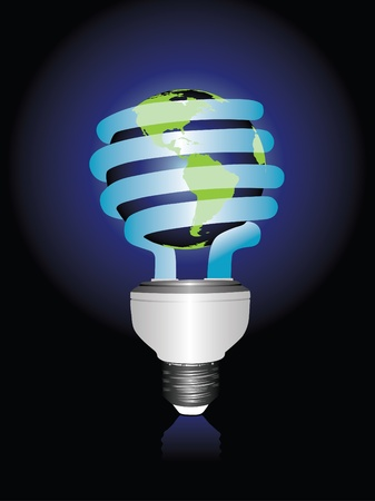A conceptual illustration of the planet Earth enclosed within a compact fluorescent lightbulb Ilustrace
