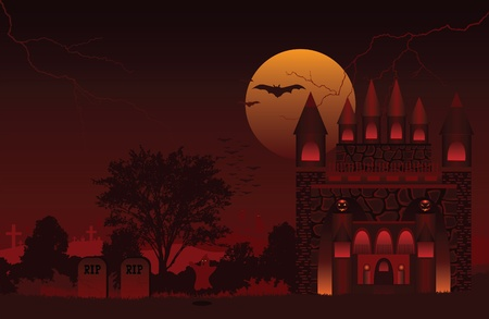 A Halloween scene of a haunted house upon a graveyard Vector