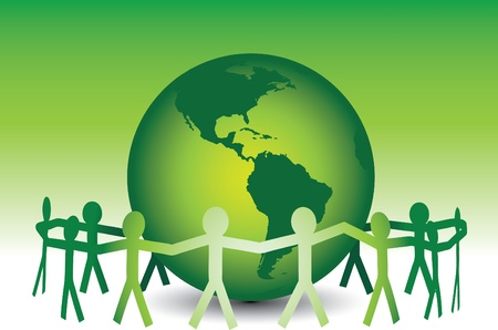 A team of paper people uniting around a clean green Earth.