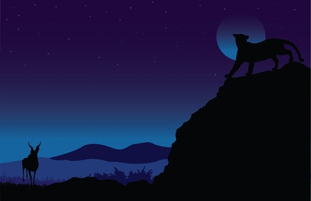 An illustration of a lion stalking its prey down below in the moonlight