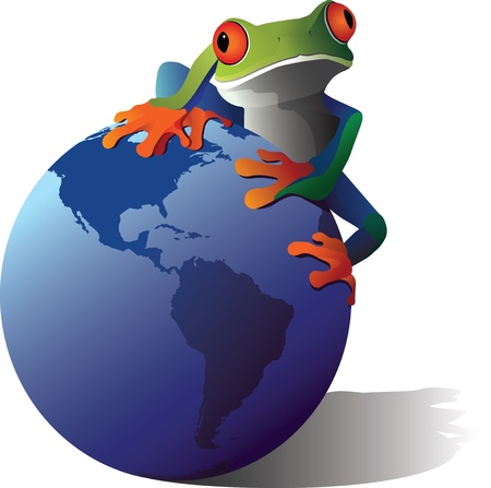 A conceptual illustration of a Red-Eyed Tree Frog on the planet earth Vectores