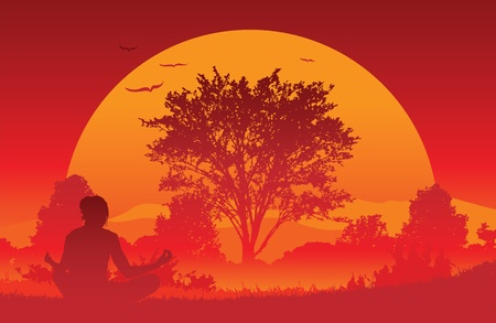 An illustration of a woman practicing a yoga position in a beautiful landscape