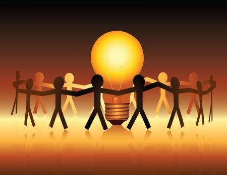 Una ilustración conceptual de un equipo de personas de papel unir alrededor de una bombilla brillantemente iluminada Ilustración de vector