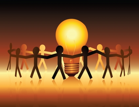 A conceptual illustration of a team of paper people uniting around a brightly lit light bulb Vectores
