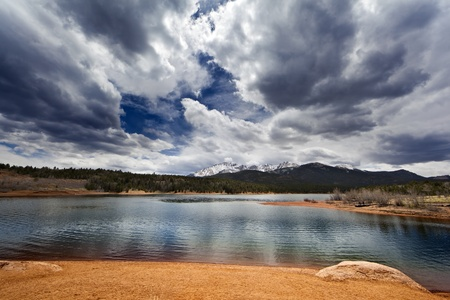 saturated color: Mountain lake landscape