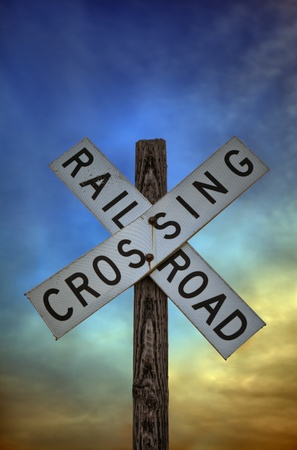 wood railroad: Old railroad crossing sign.