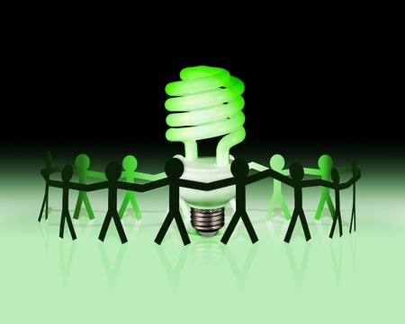 Energy efficient lightbulb with team of people photo