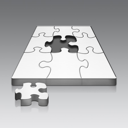 Three dimensional puzzle Stock Photo