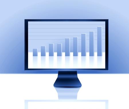 LCD monitor with rising bar graph Stock Photo - 10050407