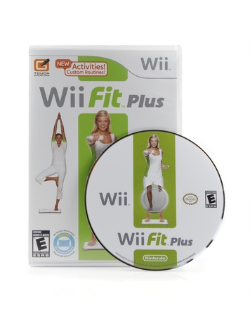 An isolated studio shot of Nintendo Wii's video game Wii Fit Plus.