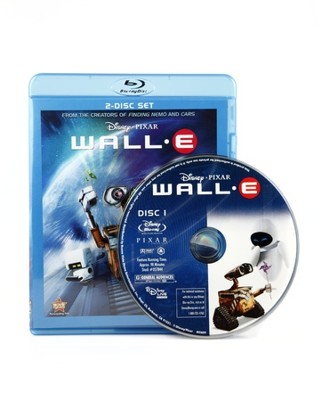 Springfield, Missouri - February 18, 2011: An isolated studio shot of the Wall-E Blue-ray box art and DVD.