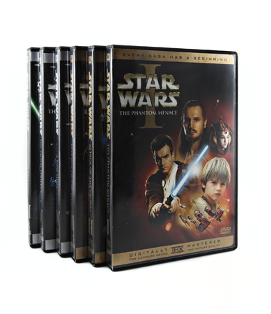 star: Springfield, Missouri - March 17, 2011: A studio shot on a white background of the Star Wars DVD set featuring all six films. Editorial