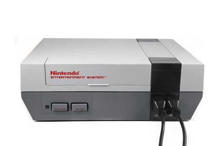 Springfield, Missouri - January 3, 2011: A studio shot on a solid white background of a Nintendo Entertainment System.