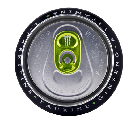 energy drink: Springfield, Missouri - March 6, 2011:An isolated close up studio shot of the top portion of a can of Monster Energy Editorial