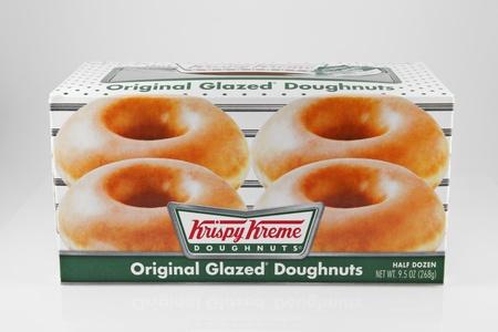 Springfield, Missouri - March 6, 2011: A studio shot of a box of 6 Krispy Kreme Original Glazed Doughnuts.