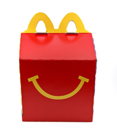 An isolated studio shot of a McDonalds Happy Meal box Editorial