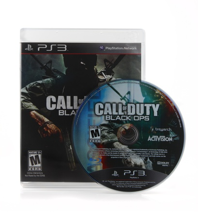 Springfield, Missouri - February 15, 2011: An isolated Playstation 3 version of the Call of Duty: Black Ops video game box art and disk. Editorial
