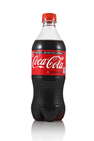 Springfield, Missouri - February 18, 2011: An isolated studio shot of a 20oz bottle of Coca-Cola Stock Photo - 10368560
