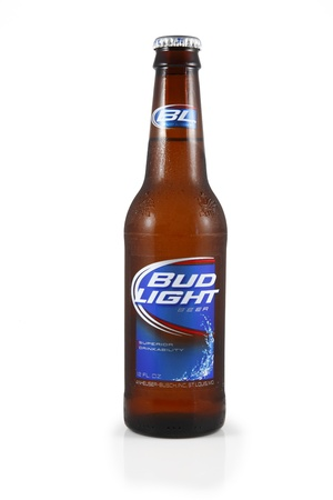 a bud: Springfield, Missouri - February 13, 2011: An isolated studio shot of a bottle of Bud Light Beer.