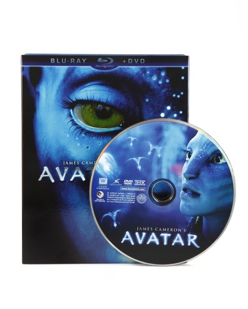 bluray: Springfield, Missouri - February 18, 2011: An isolated studio shot of the Blu-ray box art and disk of Avatar the movie. Avatar became the first film to gross more than 2 billion dollars and is currently the highest grossing film of all time. Editorial