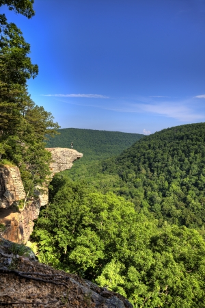 Hiker on the famous Hawksbill Crag in Arkansas Stock Photo