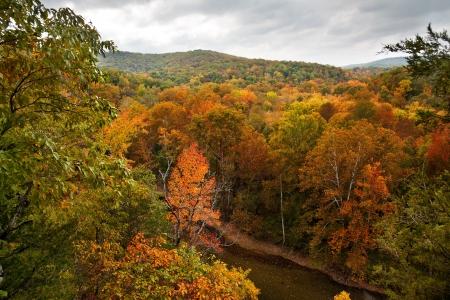 The Buffalo River in Arkansas during the peak of the Autumn season.