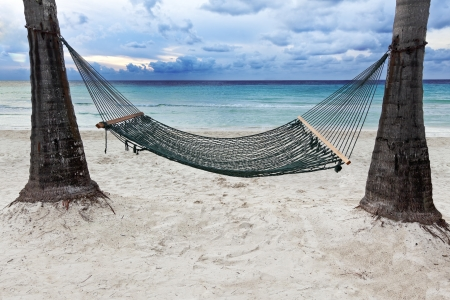 A hammock between two palm trees beside the ocean as the sun begins to set. Stock Photo