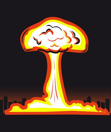 Esplosione nucleare nella figura di grande città