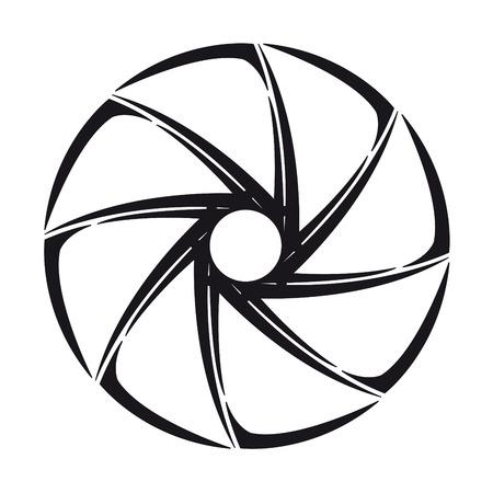 serrande: L'otturatore della fotocamera stilizzata di illustrazione su bianco