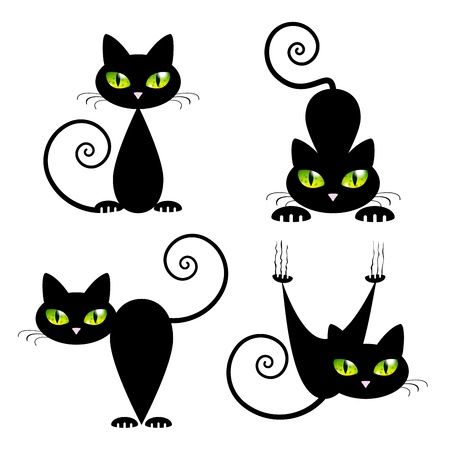 green eyes: Black Cat with Green Eyes Vector Illustration