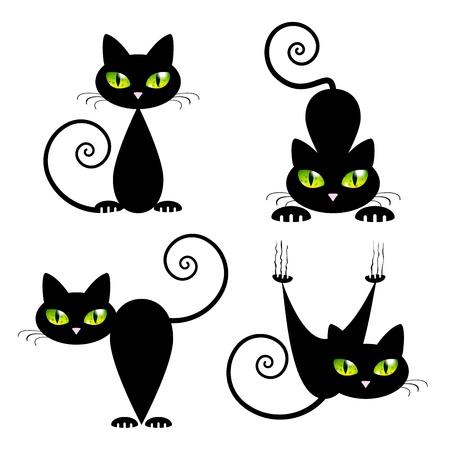 fekete-fehér: Fekete macska, zöld szemmel, vektor, Ábra