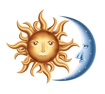 zon en maan: Vector decoratieve Golden Sun met Blue Moon op wit wordt geïsoleerd Stock Illustratie