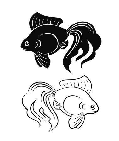 golden fish: Black and white goldfish figures grand tails vector illustration Illustration