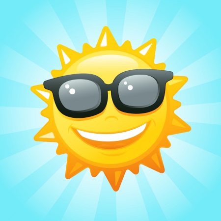 Smiling sun sunglasses in sky vector illustration Vector
