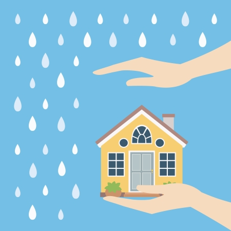 guard house: Home safety symbol protected from rain vector illustration Illustration