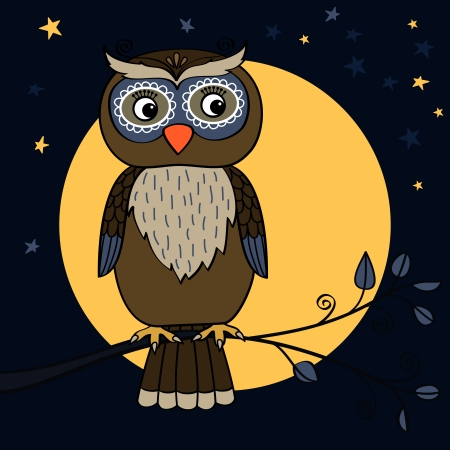 Owl on tree branch at moon night with stars vector illustration Vector