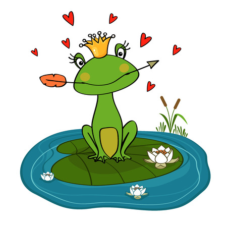 lily vector: Frog princess with crown and arrow on water lily vector illustration Illustration