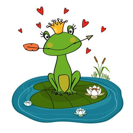 princess frog: Rana princesa con la corona y la flecha en nen�far ilustraci�n vectorial
