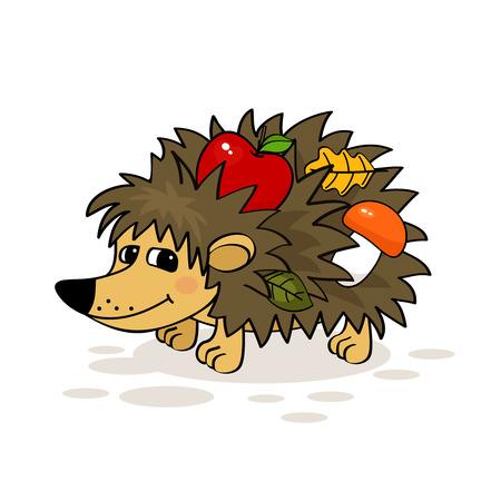 cartoon hedgehog: Smiling hedgehog with apple, mushroom and leaf vector illustration