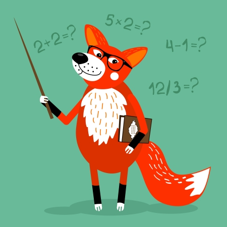 Fox teacher children education school vector illustration Vector