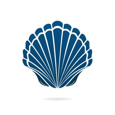Pétoncle coquillage des mollusques icône signe isolé illustration vectorielle Vecteurs