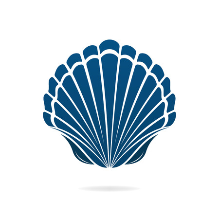 scallop shell: Scallop seashell of mollusks icon sign isolated vector illustration Illustration