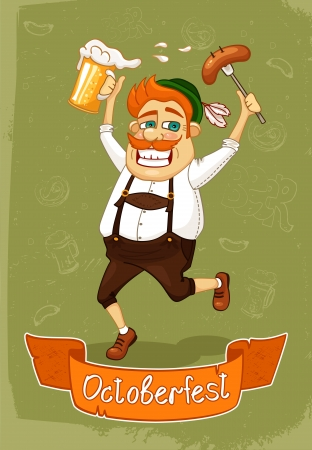 fat belly: Oktoberfest poster of burger with sausage and beer vector illustration Illustration
