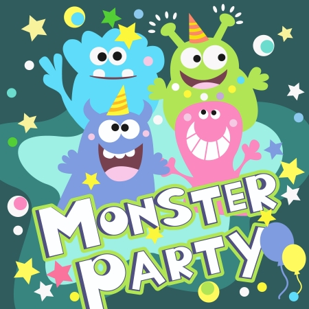 monster face: Cheerful monster party poster vector illustration design