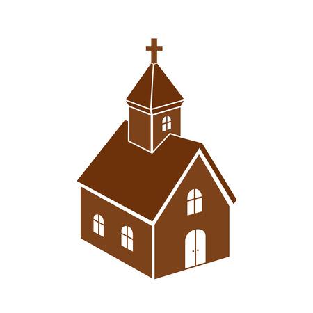 Iglesia cristiana icono monocromático, ilustración vectorial