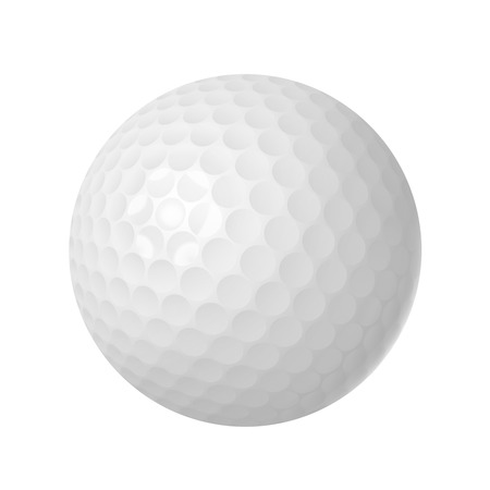 Golf ball over white isolated vector illustration