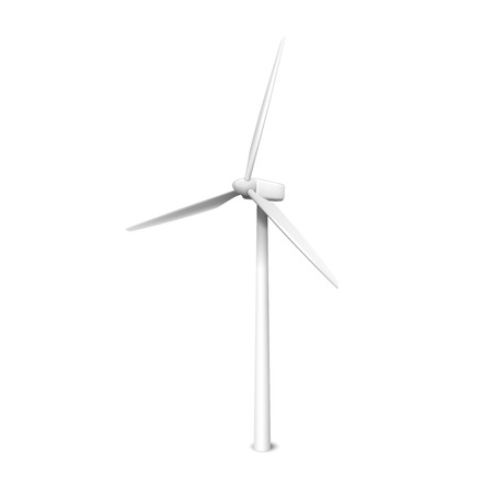 Windmill, wind generator realistic vector illustration isolated Ilustração