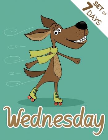 weekdays: Wednesday, weekdays hipster vector illustration calendar set