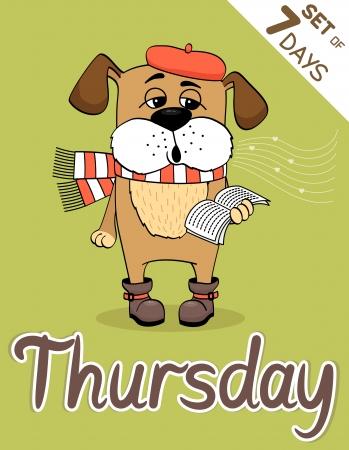 weekdays: Thursday, weekdays hipster vector illustration calendar set